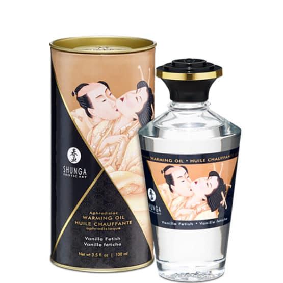 Shunga-Huile de massage chauffante aphrodisiaque vanille 100 ml Secret toy