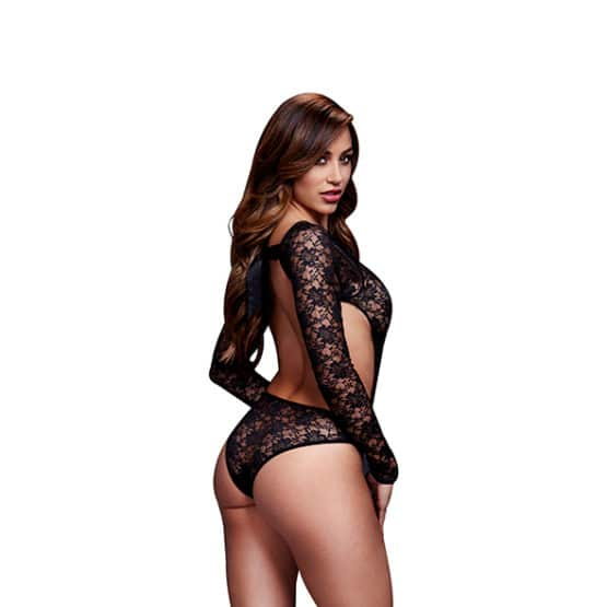 Baci-Bodysuit noir taille unique extensible Secret toy