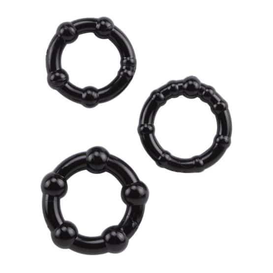 Chisa-Lot de 3 cock rings perlés en silicone-Secret toy